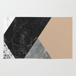 Black and white marbles and pantone hazelnut color Rug
