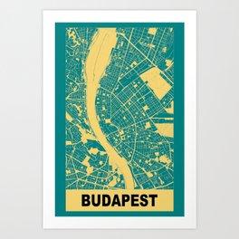 Budapest, Hungary, city map, Teal Art Print