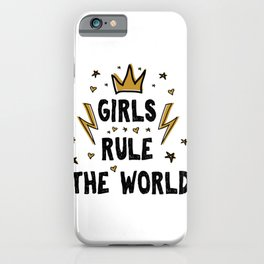 Girls rule the world - funny feminism humor sayings typography illustration with thunder and star iPhone Case