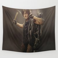 daryl dixon Wall Tapestries featuring Daryl Dixon - TWD by Annabelle Pickering