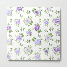 Hand painted lavender violet green watercolor floral Metal Print