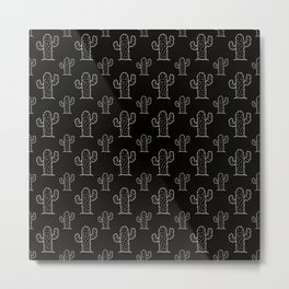 Black & White Cactus Succulen Pattern-Mix and Match with Simplicity of Life Metal Print