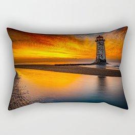 Old Lighthouse Sunset Rectangular Pillow