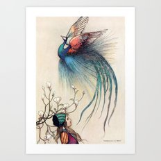 Beautiful Bird with a Little Girl Art Print