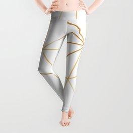 gold polygon on white Leggings