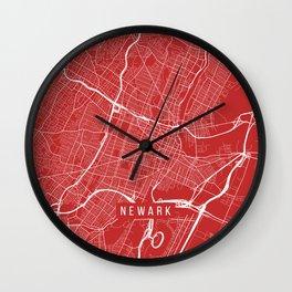 Newark Map, USA - Red Wall Clock