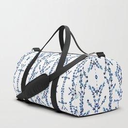 Vines Kaleidoscope (blue on white) Duffle Bag