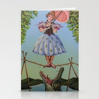 haunted mansion Stationery Cards featuring Haunted Mansion Portrait: Trapeze Girl by Jonathan R. Lopez