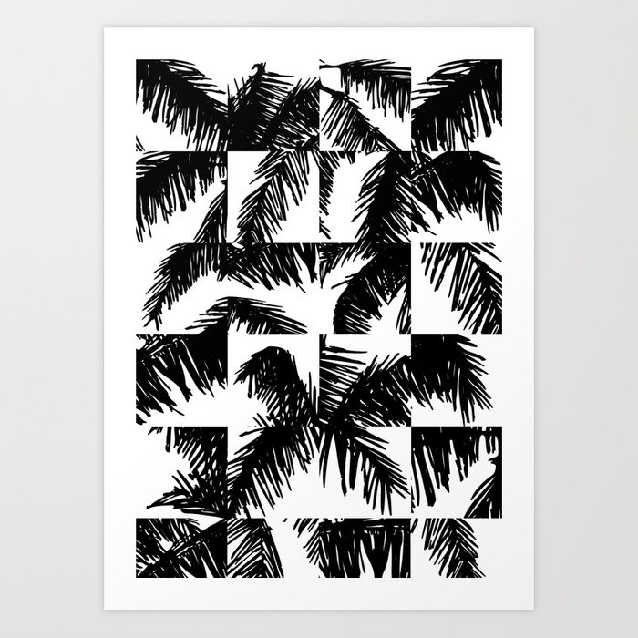 Palm Leaf Pattern Black Art Print