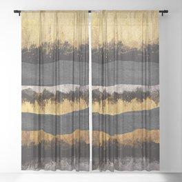 Golden Ocean Waves #1 #abstract #painting #decor #art #society6 Sheer Curtain