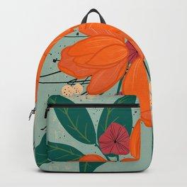 Orange Burst Florals Backpack