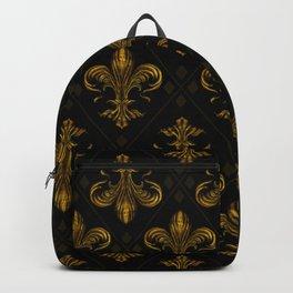 Fleur-de-lis pattern vintage gold Backpack