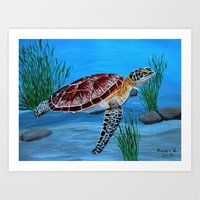 sea turtle Art Prints featuring Sea turtle  by maggs326