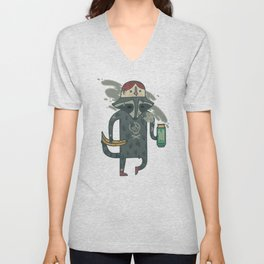 "Raccoon wearing human ""hat"" Unisex V-Neck"