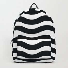 Black And White Abstract Wavy Lines Pattern Backpack