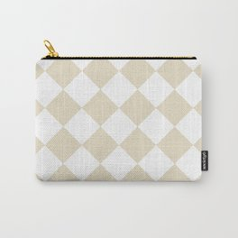 Large Diamonds - White and Pearl Brown Carry-All Pouch
