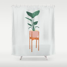 Boho mid century modern house plant and pot stand Shower Curtain