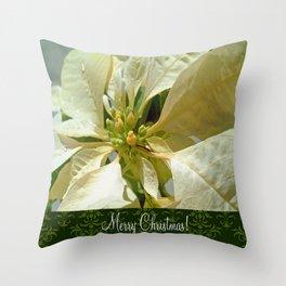 Pale Yellow Poinsettia 1 Merry Christmas S6F1 Throw Pillow