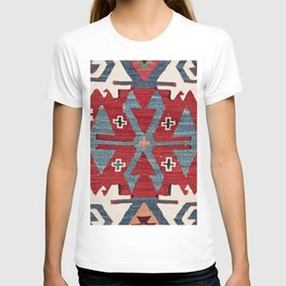Blue Diamond Arrow Konya II // 19th Century Authentic Colorful Red Cowboy Accent Pattern T-shirt