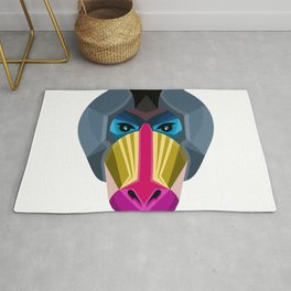Male Mandrill Head Flat Icon Rug