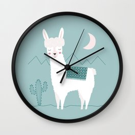 Alpaca In The Mountains Wall Clock