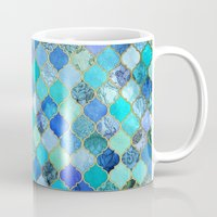 blues Mugs featuring Cobalt Blue, Aqua & Gold Decorative Moroccan Tile Pattern by micklyn