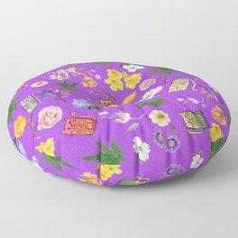 Purple Cannabis Kittens Floor Pillow