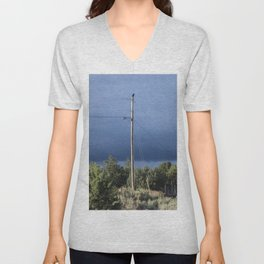 Black Crow on powerline wire in Taos, NM Unisex V-Neck