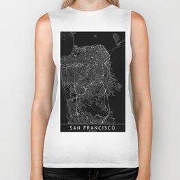 San Francisco Black Map Biker Tank