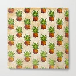 Retro Vintage Aloha Fruit  Pineapple  Pattern Metal Print