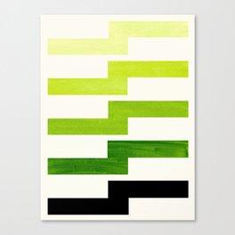 Minimalist Mid Century Modern Sap Green Watercolor Painting Lightning Bolt Zig Zag Pattern With Blac Canvas Print
