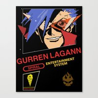 gurren lagann Canvas Prints featuring NES Gurren Lagann by IF ONLY