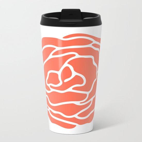 Rose Deep Coral on White Metal Travel Mug