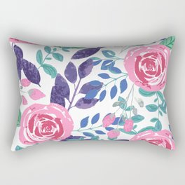 Watercolor Floral Bouquet Rectangular Pillow