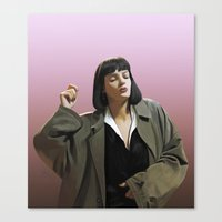 mia wallace Canvas Prints featuring Mia Wallace by Taylor Miller