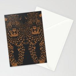 Midnight Leopard - Navy and Orange Leopard print By Kristen Baker Stationery Cards