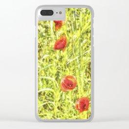 Poppy Watercolour Art Clear iPhone Case