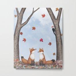 foxes, falling leaves, & pileated woodpecker Metal Print