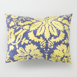 Vintage floral pattern blue and gold Pillow Sham