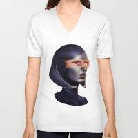 mass effect V-neck T-shirts featuring Mass Effect: EDI by Ruthie Hammerschlag