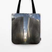 jewish Tote Bags featuring Jewish memorial wide by Cozmic Photos