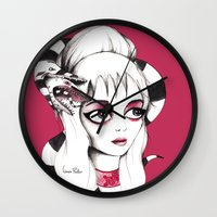 lydia martin Wall Clocks featuring Lydia Deetz by Laura Pastor