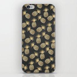 Modern chalk black elegant faux gold pineapple pattern iPhone Skin