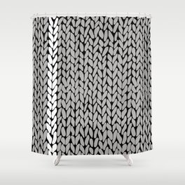 Grey Knit With White Stripe Shower Curtain