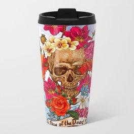 Floral Day Of The Dead Skull Metal Travel Mug