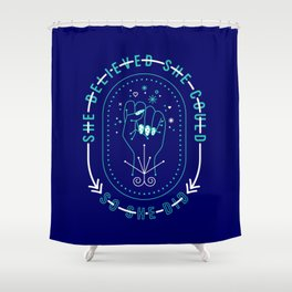 She Believed – Navy & Turquoise Palette Shower Curtain