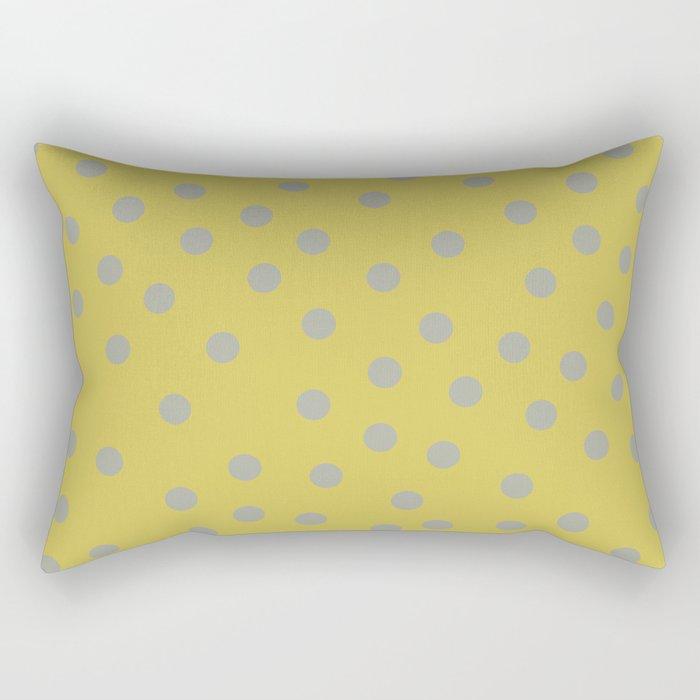 Simply Dots Retro Gray on Mod Yellow Rectangular Pillow