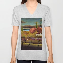 Classical Masterpiece 'Landscape with Farmer' by Henri Rousseau Unisex V-Neck