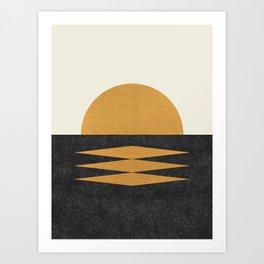Sunset Geometric Midcentury style Art Print