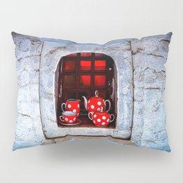 Tea Set On A Windowsill. Welcome To The Castle Pillow Sham